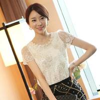 Plus size S-XXL women's lace chiffon shirts white shirt Elegance OL short Sleeves Tops SHirts Blouses women Female tees T-038