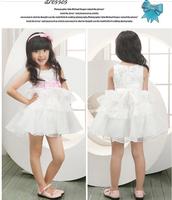 Brand new Children Wedding Formal Dress ,flower Girls Princess white party Dress ,Cute Bow Tutu Vest Dress ,dacing dress Q30