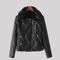 2015 New Autumn Winter Leather Jacket Women Faux Fur Collar Black Coat Fashion Slim Zipper Design Jaqueta De Couro Feminina