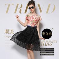 Free shipping 2015 Hepburn Black White  Lace Skirt Pleated  Knee Length  Ball Gown Midi Swing Skirt
