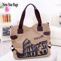 2015 NEW Vintage canvas handbag Korean version printing large capacity Messenger Bag.TS36A