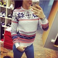 Free Shipping 2015 Women Hoody Casual Sweatshirt Fashion Pullovers Snowflake Printed Hoodies Tops Moletom Feminine