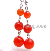 SALE  6-8-10mm round Red jade dangle Earrings with Stering Silver 925 stud-ear410 Wholesale/retail Free shipping