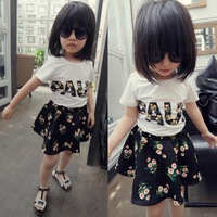 2015 summer new girl clothing set letter T-shirt+flowers skirts 2pcs clothes suit baby girls tutu dress sets Children's clothing