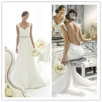 Vestido De Noiva 2015 Fashionable Dress New Sexy Backless Mermaid White Lace Wedding Dress Exquisite Beading Bridal Gown