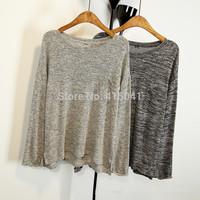 Free shipping 2015 New Fashion Women Thin Sweater Retro Loose Style O-Neck Colored Wool  Irregular Hem Pocket Pullover Sweater