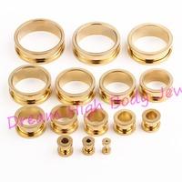 Gold Flesh Tunnel Ear Plug Expander Piercing Fashion Body Jewelry Screw Hand polishing 2mm to 30mm 316L Stainless Steel Titanium