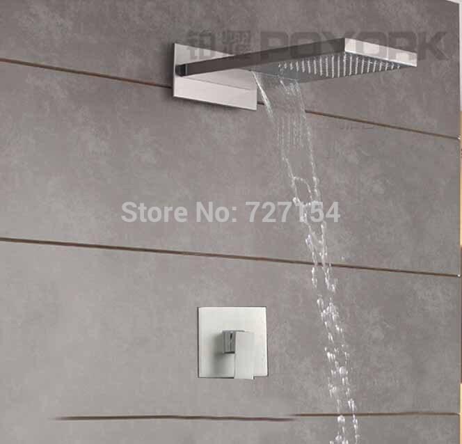 Wall Mounted Rainfall Waterfall Nickel Brushed Shower Faucet Single Handle Mixer(China (Mainland))