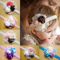 1 Piece Fashion Lace Rose Flower Headband For Baby Girls Children Elastic Hair Bands Girls Headwear Baby Hair Accessories,FS239