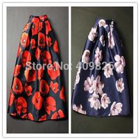 2015 Spring New 50S Royal Vintage Women Retro Peas Flower Print Swing Midi Skirt High Waist Tutu Saia Estampada Curtas Two Color