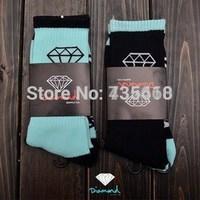 Free shipping Diamond thick long Socks Men women fashion brand skateboard fixed gear sport Socks hiphop street wear black navy