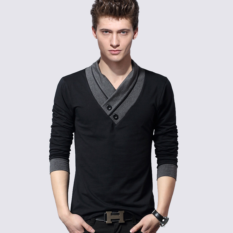 Dress man shirts tops western casual brand casual long sleeved t shirt