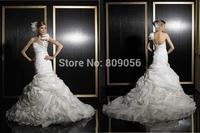 2015 New Arrival Organza Mermaid Wedding Dresses One Shoulder Pleated Crystal Cascading Ruffles Court Train Bridal Gowns V043