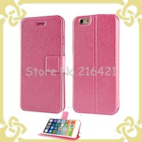 6 Colors Fashion Silk Pattern Stand PU Leather Case For Apple iPhone 6/ iPhone 6 Plus Original Mobile Phone Case Cover
