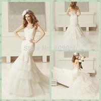 Popular 2015 Organza Mermaid Wedding Dresses Sweetheart Crystal Beaded Layers Sweep Train Bridal Gowns V032