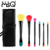 2015 HOT  Professional 6 pcs Makeup Brush Set  Toiletry Kit Wool Brand  Double makeup brush sets portable model free shipping