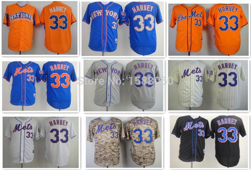 New york Mets #33 Matt harvey jerseys Authentic Stitched Mens Sports Baseball jerseys Blue Black White Orange Gray cream-colored(China (Mainland))