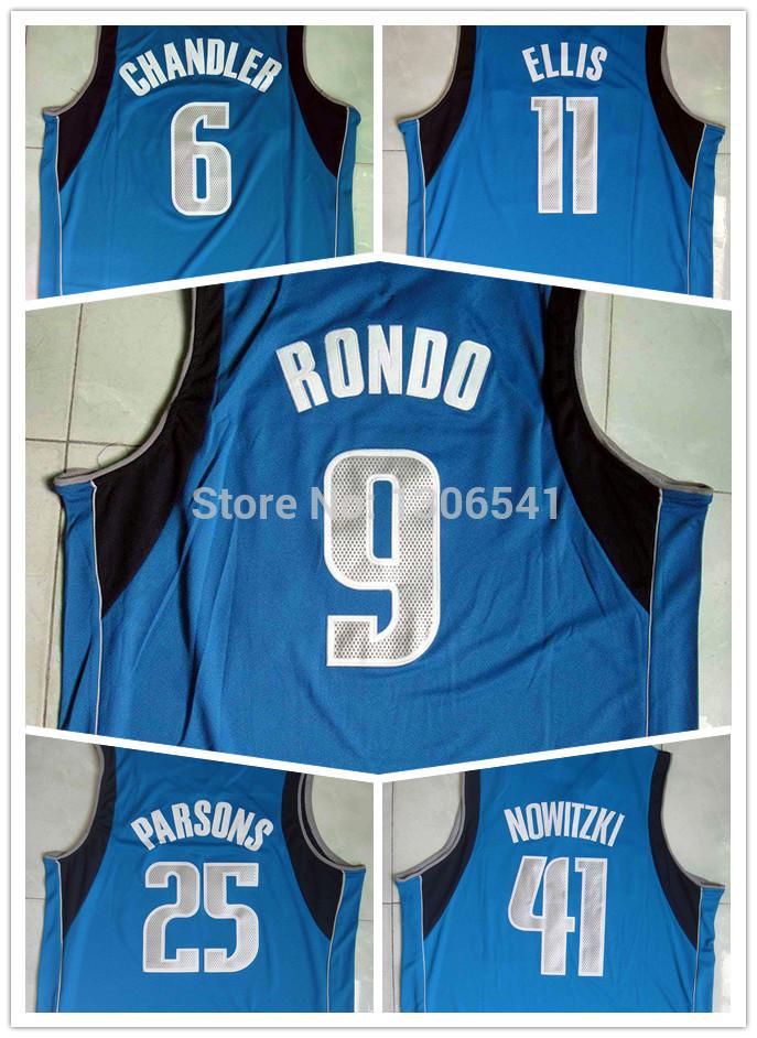 2015 New Blue Rajon Rondo Jersey Dallas Dirk Nowitzki Monta Ellis Chandler Parsons Tyson Chandler Stitched Basketball Jerseys(China (Mainland))