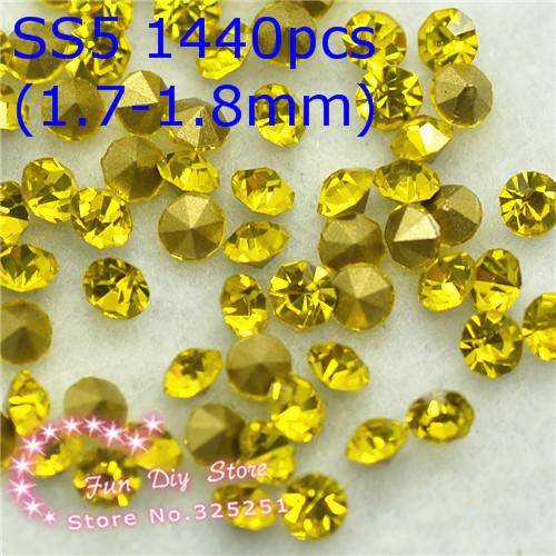 SS5(1.7-1.8mm)/1440pcs Point Back Rhinestone citrine Diamond crystal round fancy stone free shipping(China (Mainland))