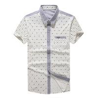 2015 new fashion men's summer cotton printed short sleeve shirt turn-down collar casual shirts S- XXL #755