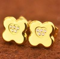 rose/silver/gold 3 options clover+heart earrings