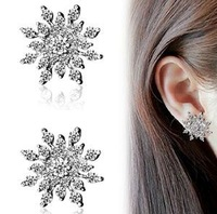 Hot Snowflake Women Fashion Jewelry Crystal Starburst Statement Stud Earring For Sale
