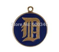 Stylish12pcs/lot Single-sided Detroit Tigers Blue Enamel Baseball Charms Jewelry China