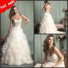 Longo Organza marfim querida Beading Ruched Vestidos De Novia Backless Vestidos indianos para noivas uma linha vestido De noiva Plus Size(China (Mainland))