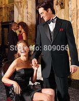 2015 Top Sale Black terno noivo Two Buttons Groom Tuxedos Groomsman Wedding Prom Suits For Men (Jacket+Pants+Vest+Tie) S223