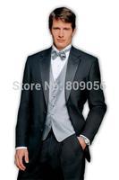 2015 New Brand Black Groom Tuxedos terno noivo Groomsman Wedding Business Suits for Men (Jacket+Pants+Vest+Tie) S207