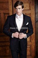 2015 Top Sale Black Groom Tuxedos Two Buttons Groomsman Wedding Suits for Men terno noivo (Jacket+Pants+Vest+Tie) S206