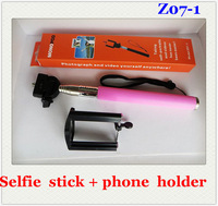 Extendable Self Portrait Selfie Stick Handheld Monopod + without Bluetooth Remote Shutter Control for Android Phones Z07-1 30pcs