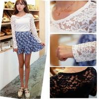 2015 Spring New Women Fashion Lace tshirts Full Sleeve Transparent Primer Shirt Elastic Slim Flowers T-shirts CGT5135