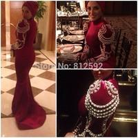 Middle East High Collar Long Sleeve Exquisite Beading Pearls Dubai Kaftan Abaya Mermaid Wine Red Long Evening Dress Prom Dress