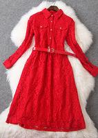 Free ship 2015 women's fashion elegant o-neck lace slim medium-long t2758 4colors ladies dress casual dress wholesale va1849