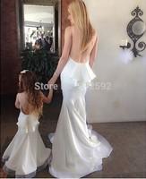 New Boat Neck Open Back Ruffles Mermaid White Long Mother and Child Dresses For Party Evening Dresses 2015 Vestido De Festa