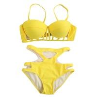 Women Bandage Bikinis Set Push Up Underwire Hollow Out Swimwear Beachwear Padded Spaghetti Strap Back Closure High Waist Bikini