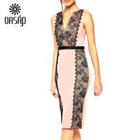 OASAP Women Lace Paneled Body Pink Dress Bodycon Ladies Pencil Evening Slimming Dresses Plus Size Vestidos Free Shipping
