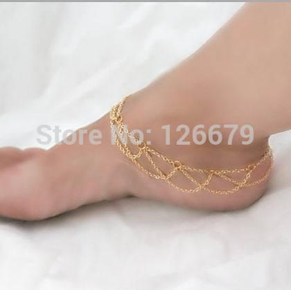 2015 nova moda Boho ouro prata tornozelo sapato cadeia de pé Harness alto botas sapatos cadeia de jóias acessório para mulheres ajustável(China (Mainland))