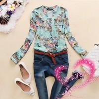 New 2015 v-neck chiffon blouse women's long sleeve flower printed shirt women casual plus size blusas femininas