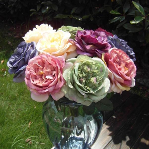 Artificial Silk Rose flor folha Bouquet Garden Party Decor arranjo de flor grátis frete ShippingFree(China (Mainland))