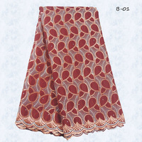 free shipping Reasonable price Beauty red color african modern swiss voile fabric ,women wedding lace fabric