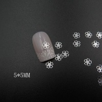 MS-372-1 Free Shipping Metal Silver Flower Nail Art Metal Sticker Nail Art Decoration Fancy Outlooking