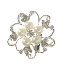 New Silver Tone Faux Pearl Broach Rhinestone Crystal Flower Leaf Wedding Brooch