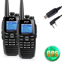 EMS 2* TYT DM-UVF10 256CH 5W Built-in GPS Digital Walkie Talkie VHF+UHF DTMF DPMR Ham CTCSS Two Way Radio + USB Program Cable