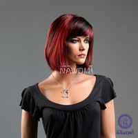 Lady KANEKALON Red Black Wigs Short Full Wigs With Bangs 11.8 Inch Beauty Bobo Hair Girls Woman Hairpiece W3304