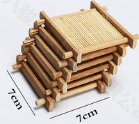 6pcs/Lot 100% Natural Bamboo Wood Trays For Tea Trays 7cm*7cm Creative Chinese Word Jing Concave Cup Mat