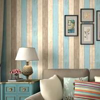 Nostalgic wood grain american style non-woven wallpaper living room tv wall stripe wallpaper child real