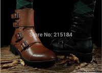 Free shipping mens combat boots PU leather nightclub punk fashion metal decoration Zip round toe flat heels Man Martin boots New