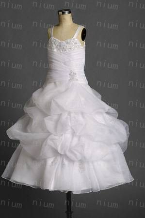Cute Spaghetti Strap A-line Organza Long Pleated White Flower Girl Dresses Real Sample Free Shipping(China (Mainland))